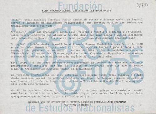 Fora Armando Romero Castrillón das Enchousas